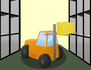 Forklift loader works in warehouse