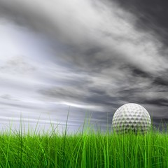 Poster Golf High resolution 3d white golf ball in green grass background