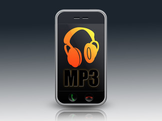 """Mobile Device with ear phones and """"MP3"""" on screen"""