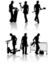 Construction workers silhouettes with different tools