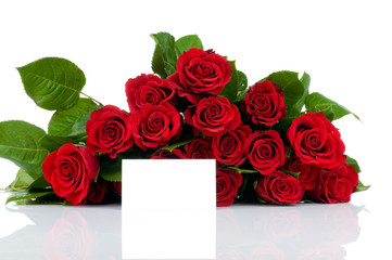 Roses bouquet and greeting card isolated on white