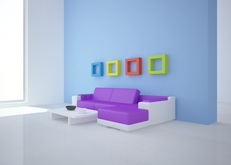 blue interior concept with colored sofa