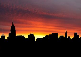 Midtown Manhattan skyline at sunset illustration