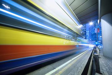 Speeding bus background, blurred motion.