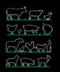 farm animals silhouettes isolated on black background