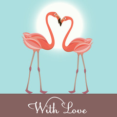 Flamingo love.  Vector Illustration