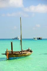 parking boat at ocean
