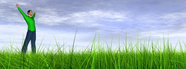 High resolution conceptual 3D human jumping happy in grass