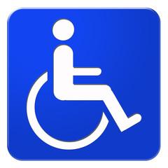 Blaues Schild mit Rollstuhl