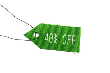 green tag 40% off
