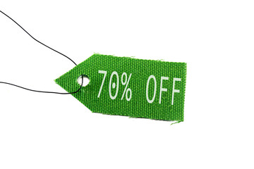 green tag 70% off