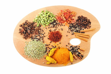 Palette of spices