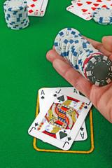 black jack hand chips