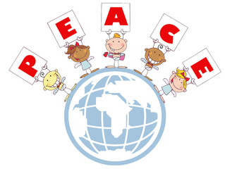 Cute Stick Cupids Holding Peace Signs On A Globe