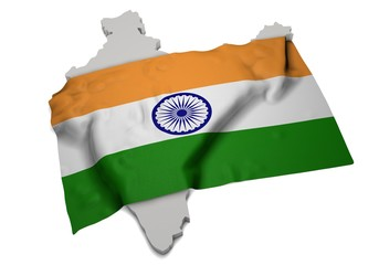 realistic ensign covering the shape of India ( भारत )