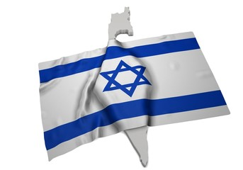 realistic ensign covering the shape of Israel