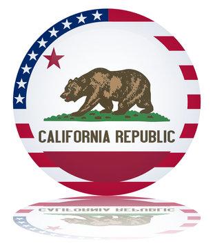 Californian State Round Flag Button (California Republic Vector)