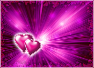 Valentine with image two heart and rays light from it