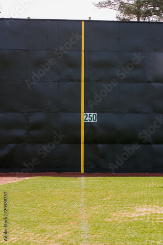 Foul Line And Homerun Fence On Baseball Field Stock Photo And