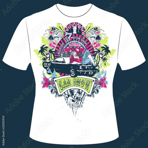 t shirt print pinup girl las vegas obraz w stockowych i