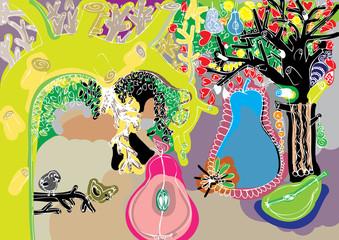 cute love tree doodle