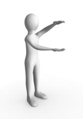 Personnage 3d présentant un objet imaginaire