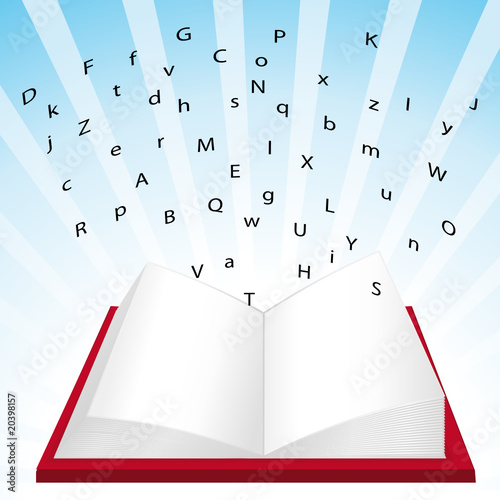 Open books with floating letters