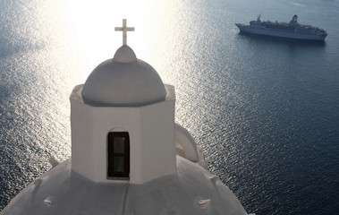 Greek church and cruise ship