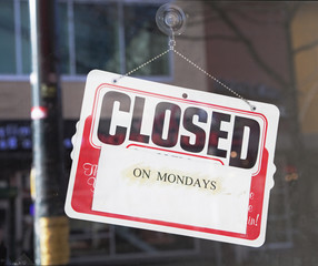 closed on monday sign