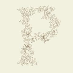 Floral font. Letter P
