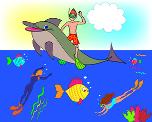 The boy also floats on a dolphin, the ocean, fishes and divers