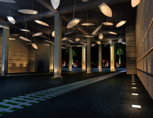 Interior of the corridor Interior of  3d rendering