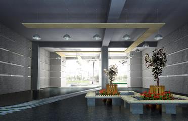 Interior of the corridor  3d rendering