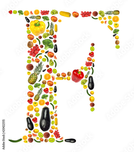 """Letter ""F"" Made Of Fruit And Vegetable"" Stock Photo And"