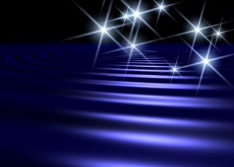 blue water surface background with white star shaped lights
