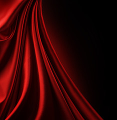Red Satin Border.Isolated on black