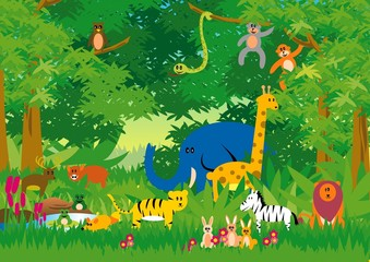 Poster de jardin Forets enfants Jungle in Cartoon