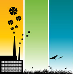 ecology illustration with factory and flower on color background