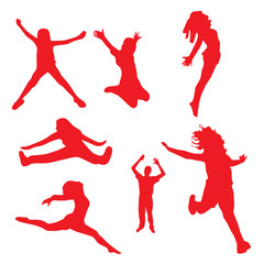 silhouettes of Happy jumping peoples Vector illustration