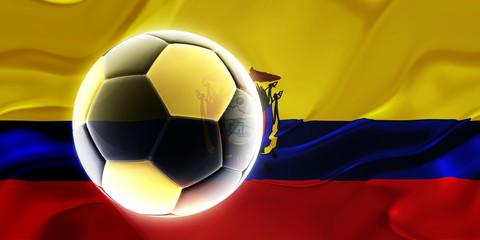 Flag of Ecuador wavy soccer