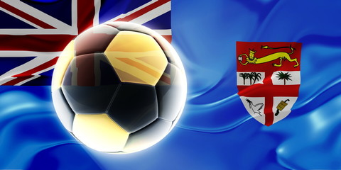 Flag of Fiji wavy soccer