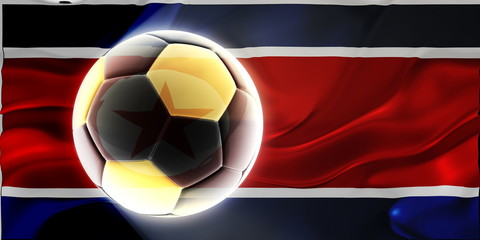 Flag of North Korea wavy soccer