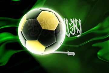 Flag of Saudi Arabia wavy soccer