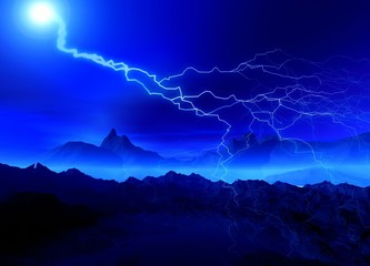 Mountains and lightning