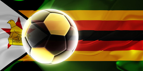 Flag of Zimbabwe wavy soccer