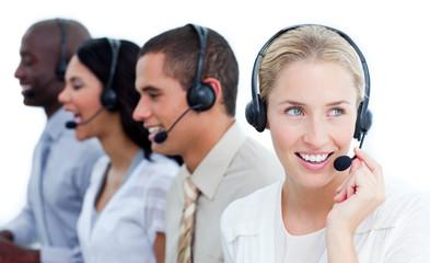 International business team talking on headset