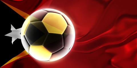 Flag of Timor-Leste wavy soccer