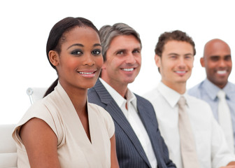 Happy Multi-ethnic business group at a presentation
