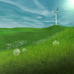 In spring, a wind turbine on a plain, generates electricity