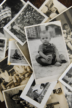 childhood: stack of old photos